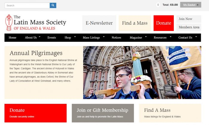 Charity Web Design for The Latin Mass Society