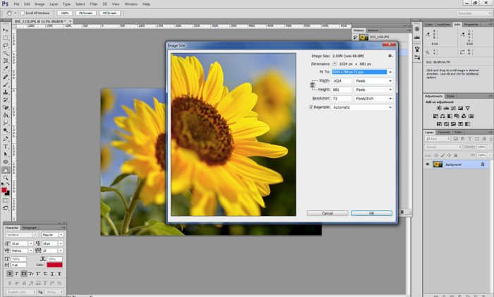 resizing images for websites