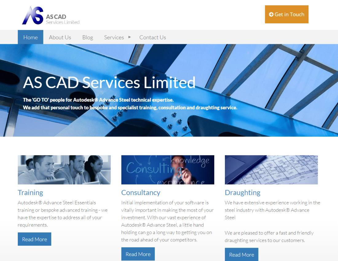 Web design for Wiltshire CAD Services company