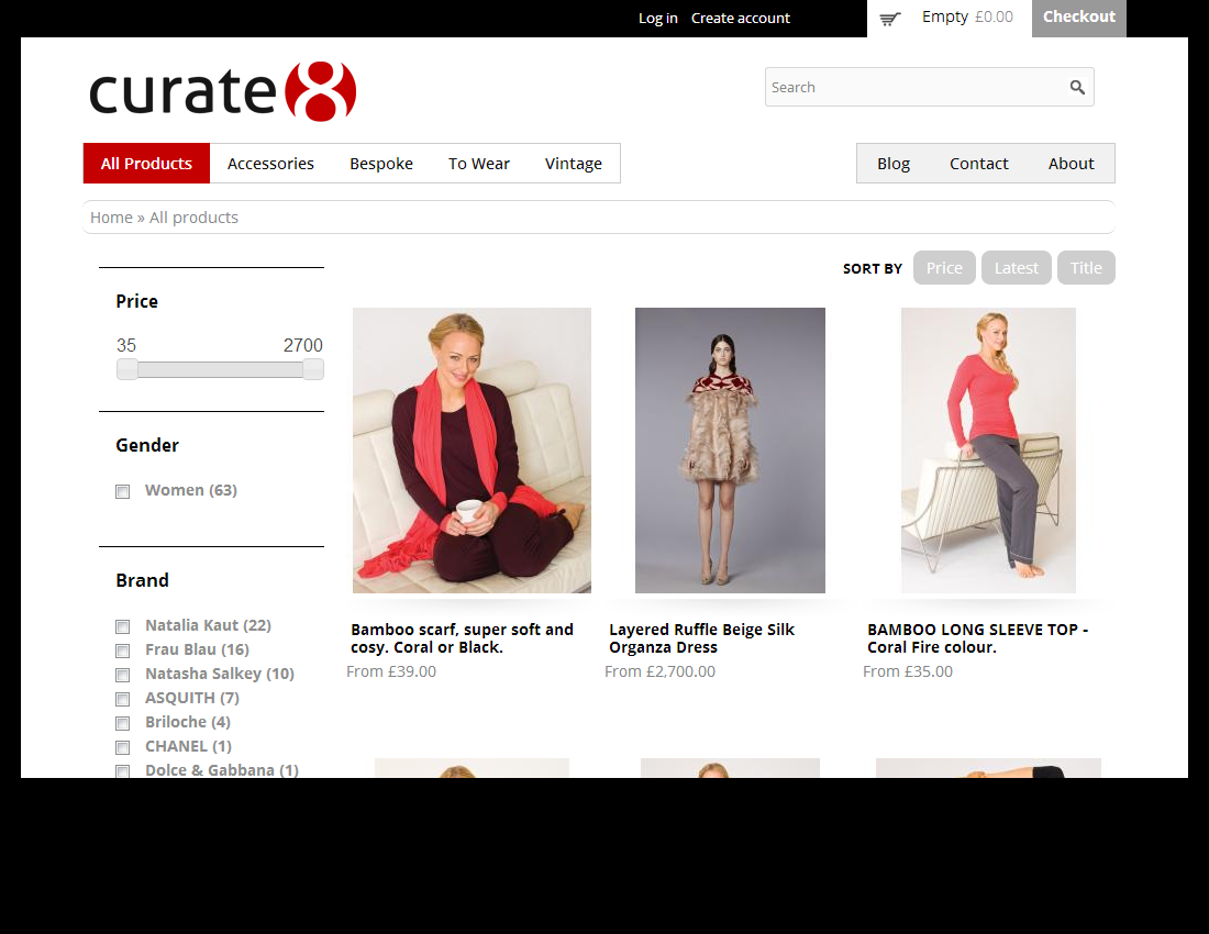 International fashion e-commerce site for London based Curate8