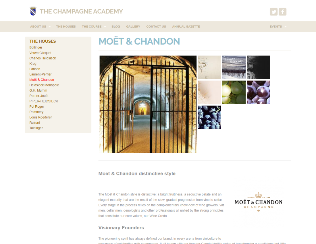 CMS Website Design for Academy of Grande Marque Champagne Houses