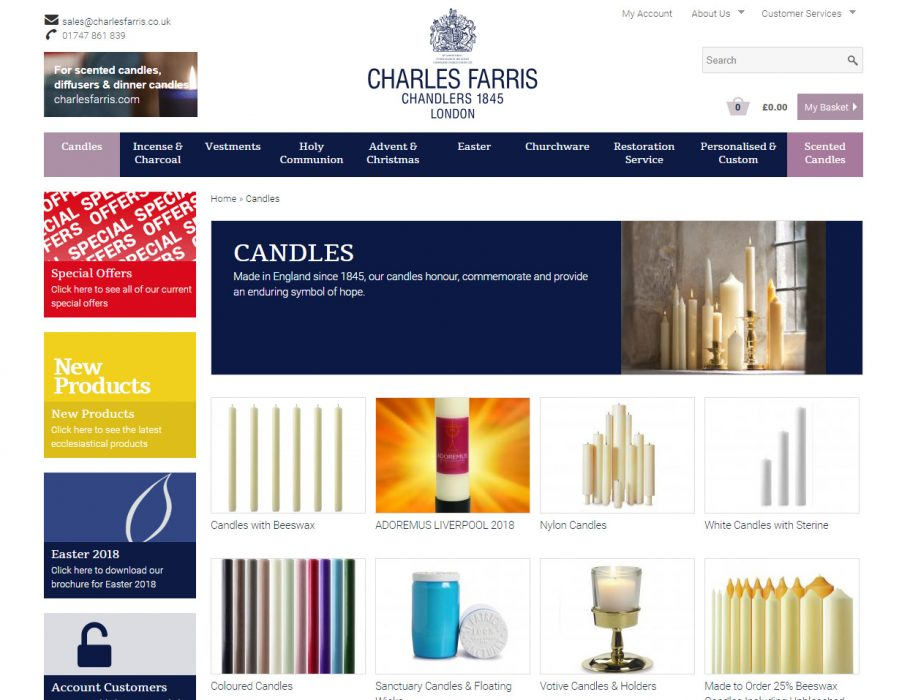 Drupal commerce Website | Wiltshire based Charles Farris