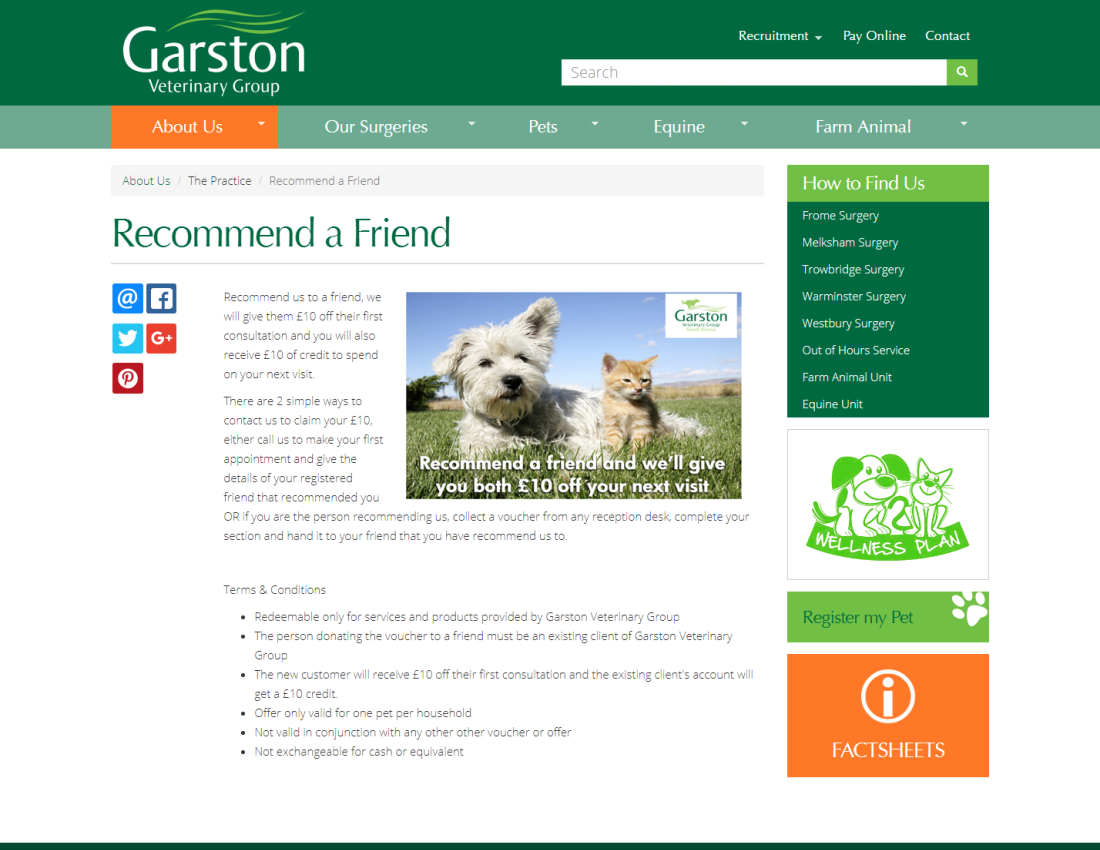 Website for Independent Veterinary Chain